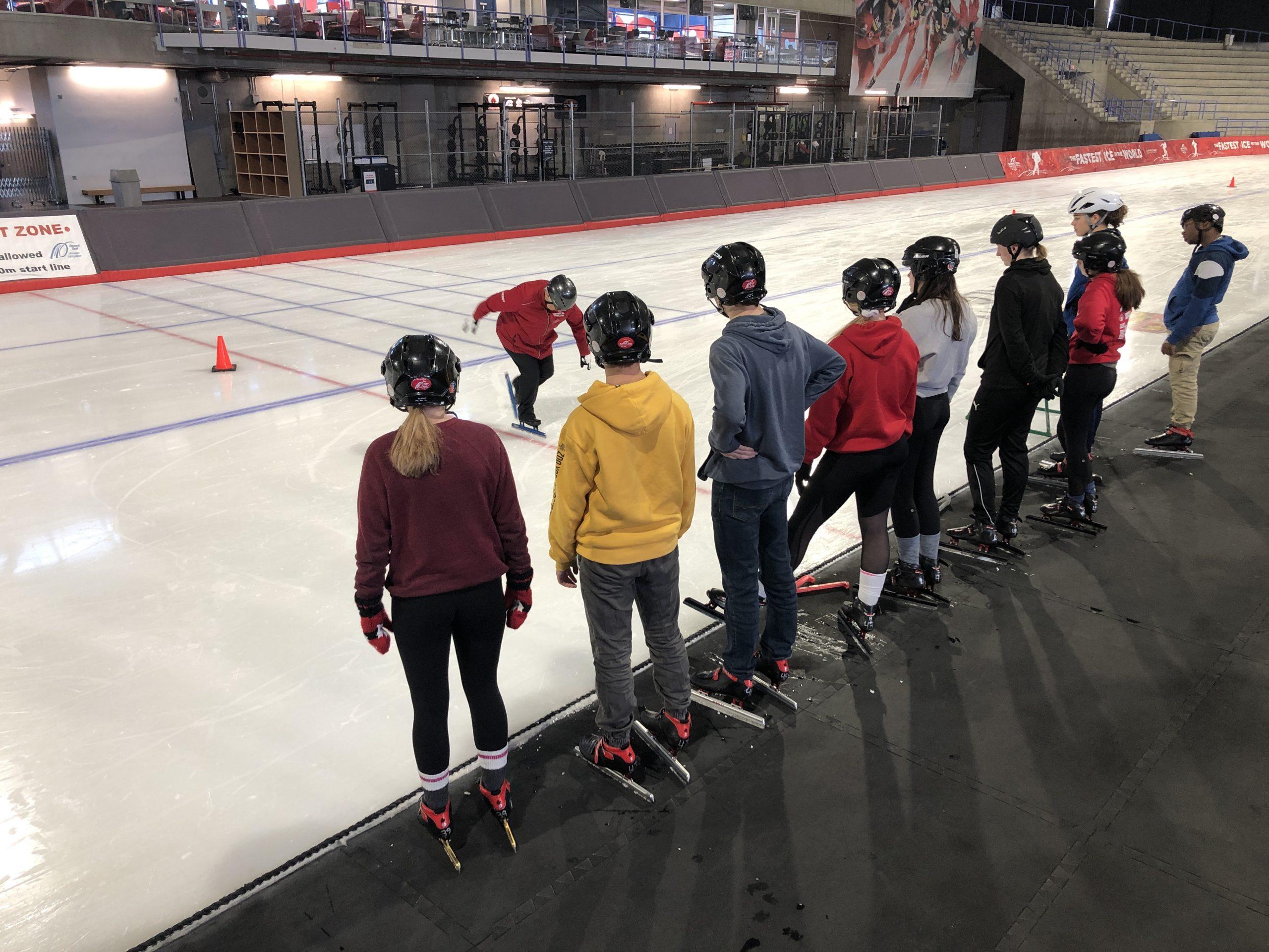 Debby teaching speed skating